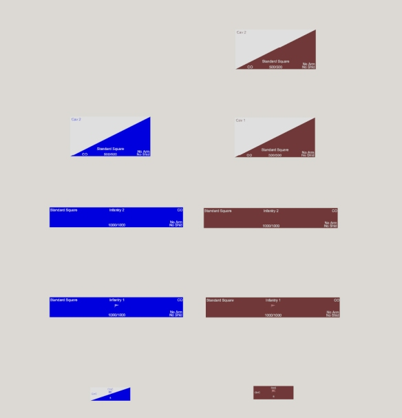 Here is the view of all the units from the point of view of the blue mounted commander, bottom left. As he is on a horse he can peer all over the other infantry units, but alas cannot peer over the blue cavalry unit at the top. As a result he cannot see the second blue cavalry unit. He can see both brown cavalry units though due to the angles involved.