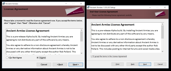 The licensing page from both installers.